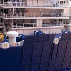 Detailarbeit am Heck des Schiffes