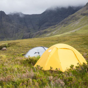 Wild Campen in Schottland nahe der Fairy Pools, Isle of Skye