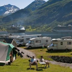 Campingplatz am Geiranger Fjord in Norwegen