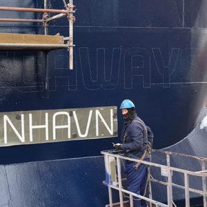 Neuer Anstrich im DFDS Blai