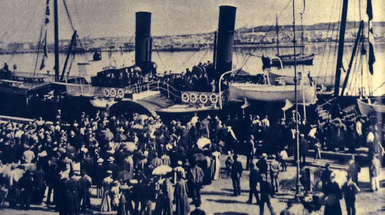 Schiffsabfertigung um 1900