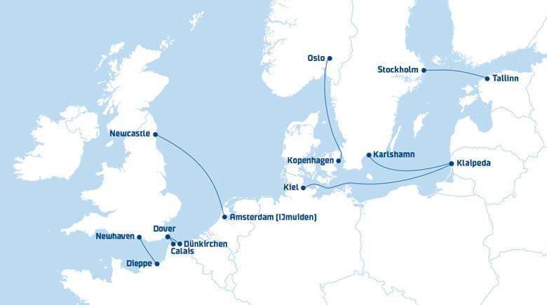 Routennetzwerk DFDS Deutschland
