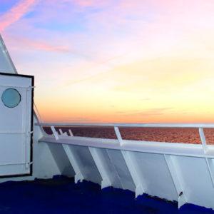 Sonnenaufgang an Bord von DFDS