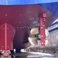 Gewartete Schiffsschrauben und Ruder
