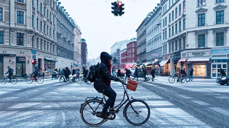 Durch das winterliche Kopenhagen mit dem Fahrrad