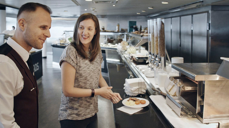 Frühstücksbüfett an Bord von DFDS