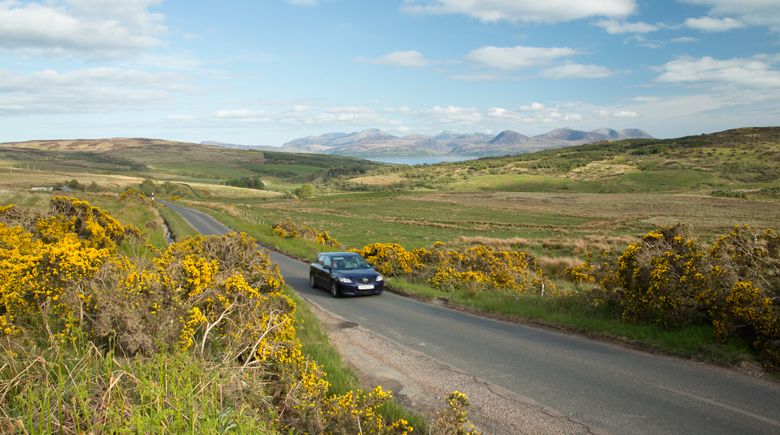Road towards Skipness hinter Argyll